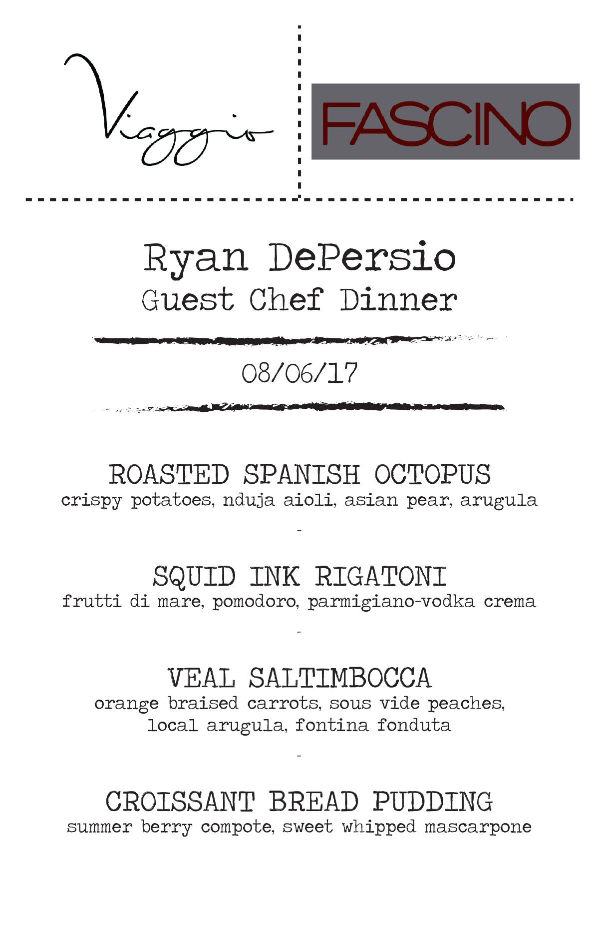 Ryan DePersio Guest Chef Dinner