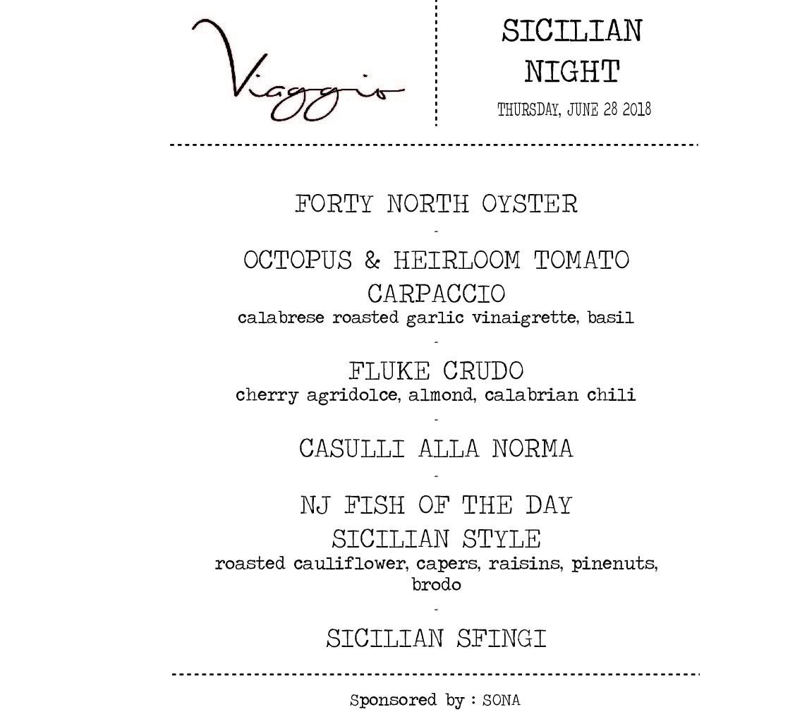 sicilian day menu 2018