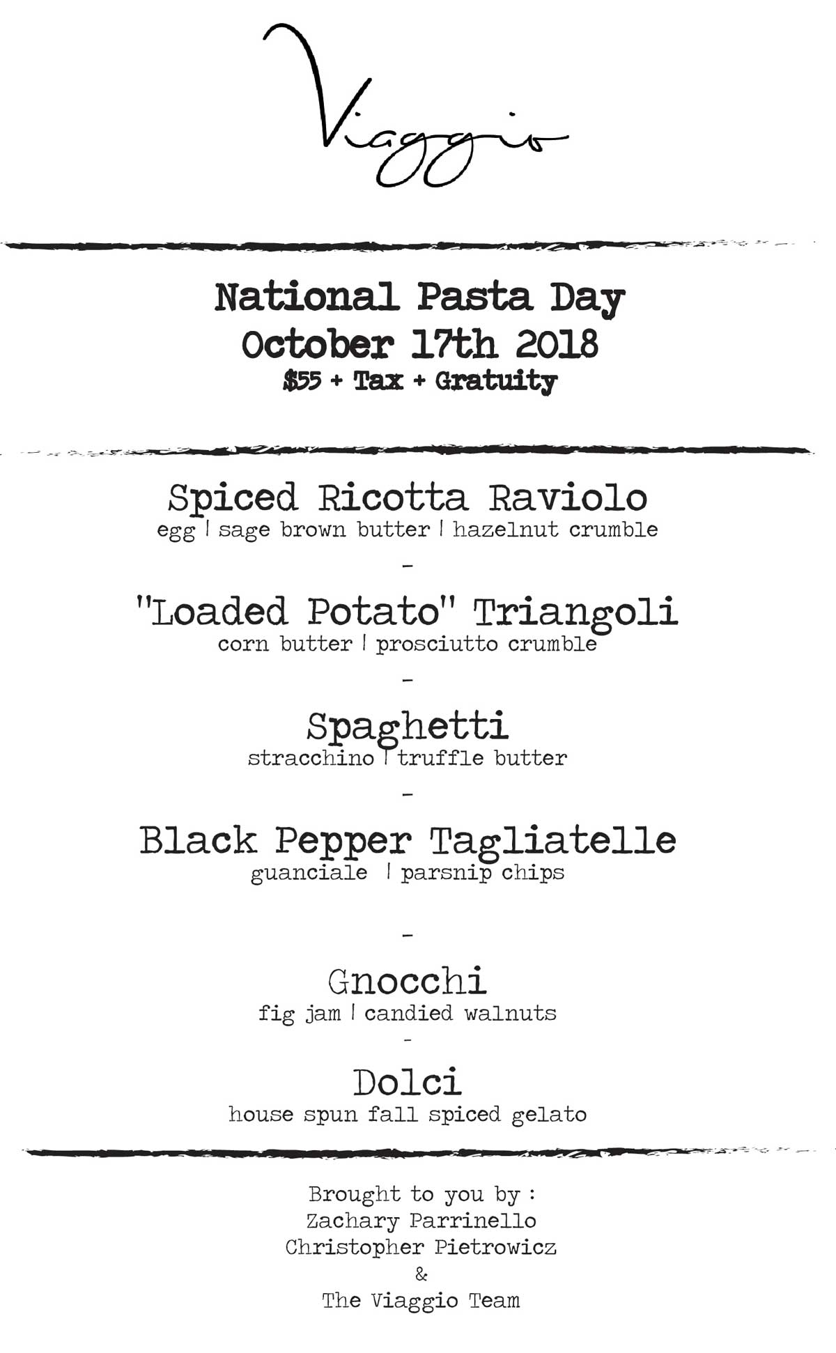 National Pasta Day at Viaggio Oct. 17