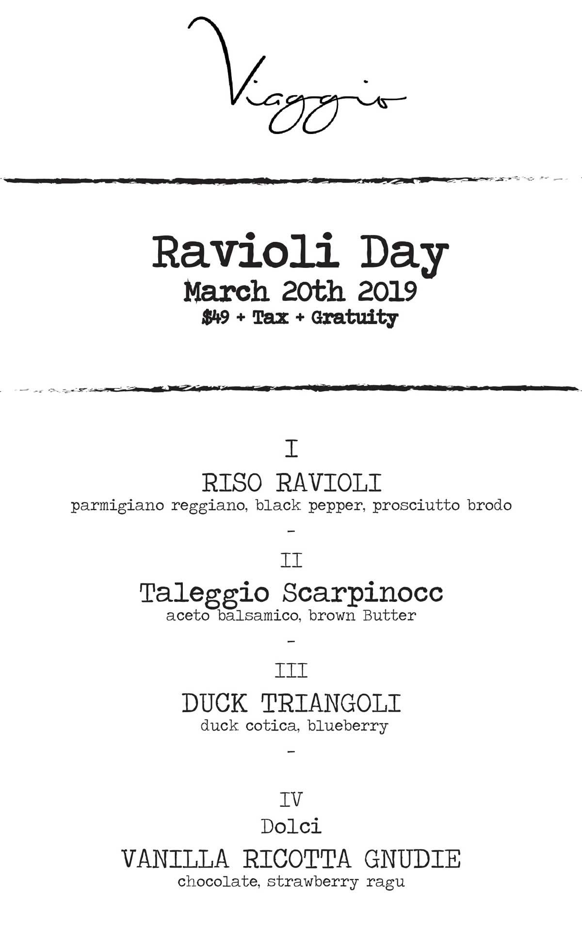 ravioli day menu 2019